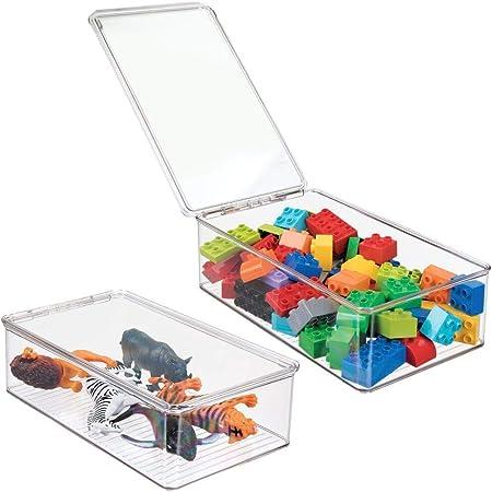 mDesign Organizador de juguetes con tapa - Cajas de almacenaje para guardar juguetes bajo la cama o