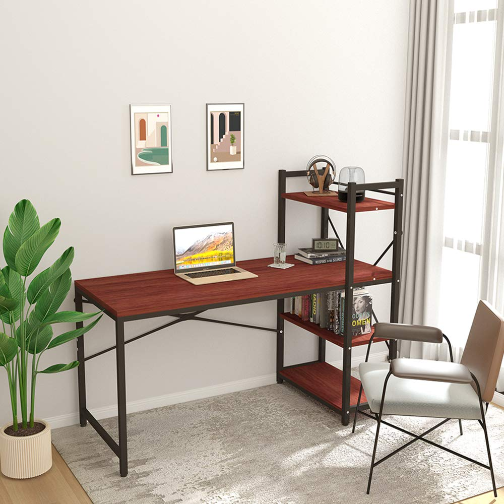 Tower Computer Desk with 4 Tier Shelves 47.6 Multi Level Writing Study Table with Bookshelves Modern Steel Frame Wood Desk Compact Home Office Workstation Walnut
