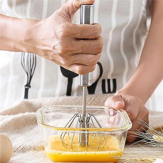 12 Inch Semi-Automatic Egg Beater Stainless Steel Hand Mixers for Blending Beating Egg Whisk Whisking Premium Kitchen Utensil