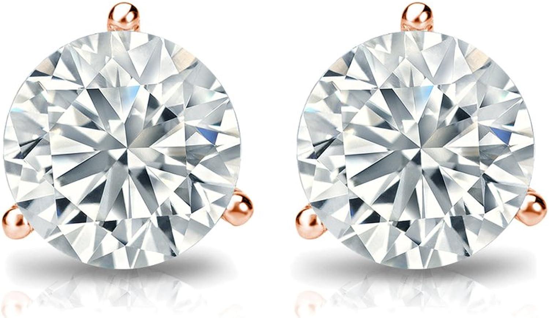 1//4-2 cttw, Excellent Quality 14k Gold-set Mens Round Diamond Simulant CZ Stud Earrings Bezel