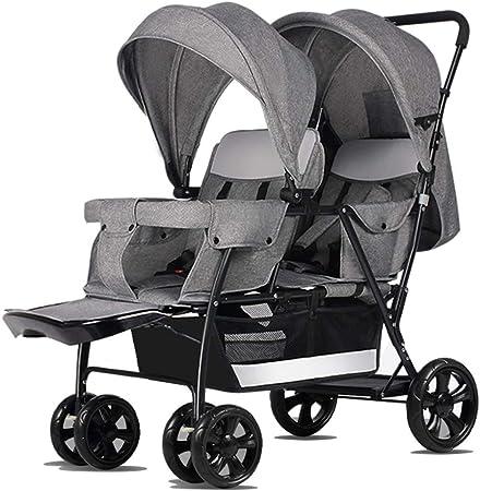 Opinión sobre Cochecito doble / doble, con respaldo ajustable y almohadillas para los pies, la parte superior desmontable se puede acostar al nacer, cochecito plegable, se puede usar para viajar, ir de compras