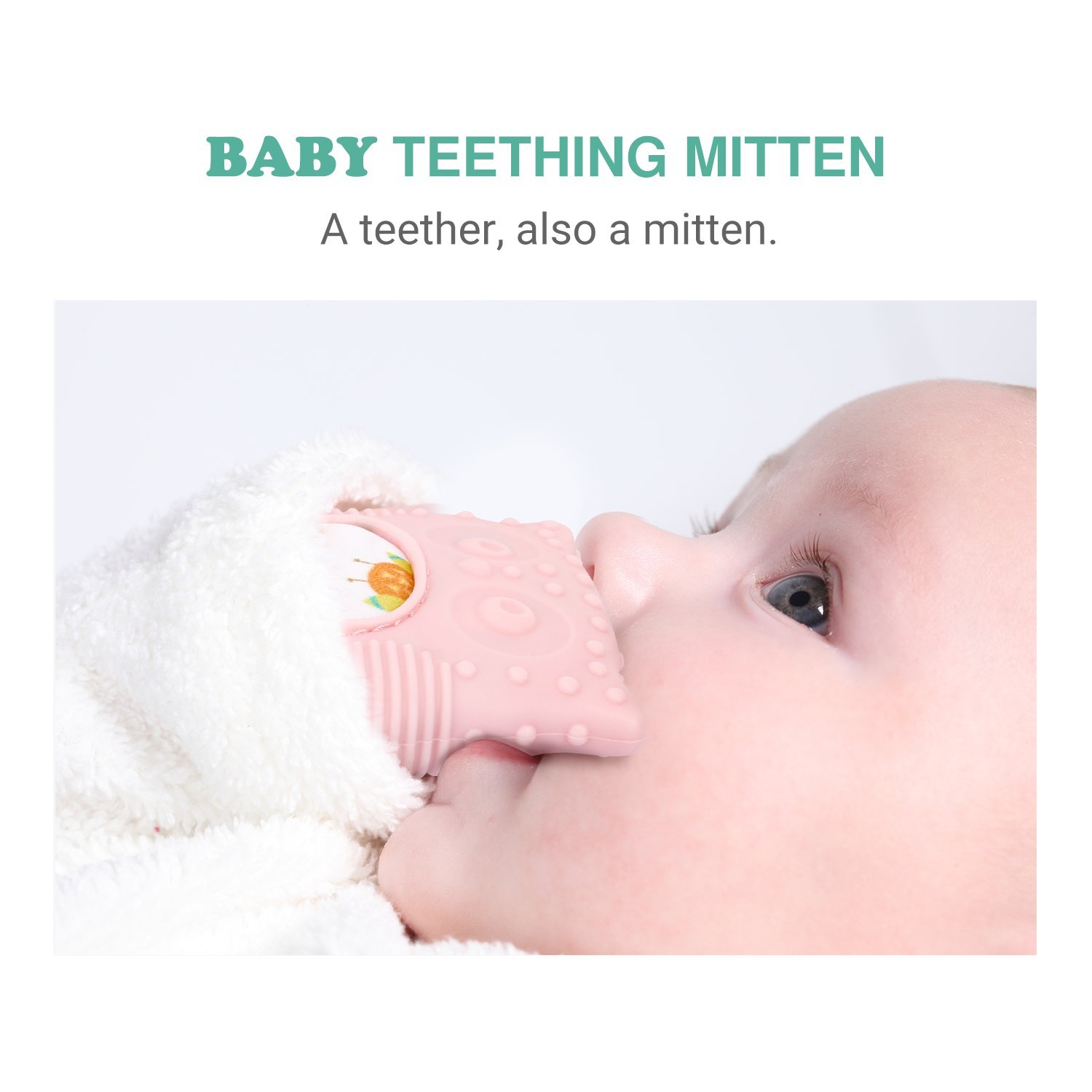 BPA-Free for 3 Soft Food-Grade Silicone Teether Mitten Glove Handy Teething Mit Toy for Self-Soothing Mint Green Zooawa Baby Teething Mitten 18 Months Infants