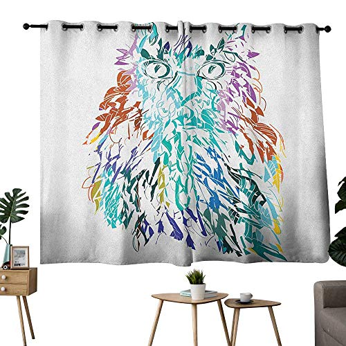bybyhome Owl Grommets Insulating Darkening Curtains Owl with Fluffy Swollen Colorful Feathers Large Eyes Vision Sage Camouflage Character Image Curtain Door Panel Multi W72 x L72 ()