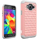 J3 Case, MagicSky [Shock Absorption] Studded Rhinestone Bling Hybrid Dual Layer Armor Defender Cover For Samsung Galaxy J3 (2016) - Rose Gold