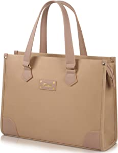 Kamlui 15.6 inch Laptop Bag for Women Computer Case Waterproof Shoulder Messenger Leather Tote Business Office Briefcase Large Capacity Bag,Khaki