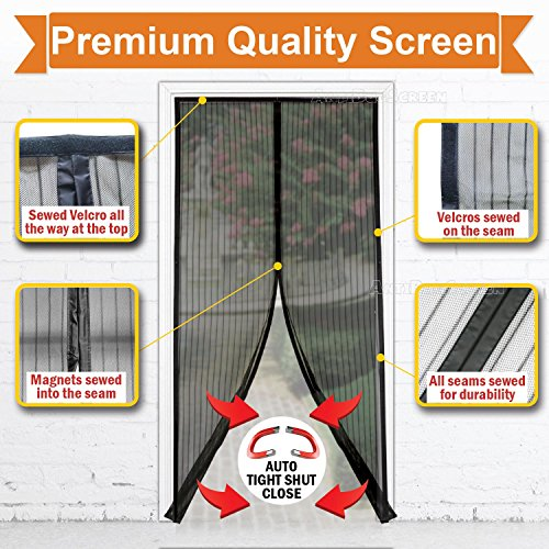 [Pack of 10] Magnetic Screen Door, Quick Install Mesh Curtain, Auto Close Magnets, Pet & Toddler Friendly, Walk Through Hands Free, Fit 32'' - 34'' X 82'' Doors. Stop Bugs & Get Fresh Air Into Your Home! by AntiBugScreen (Image #2)