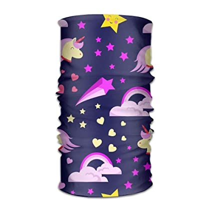Shower Curtain Pillow Multi Use Unicorn Hearts Purple Headband Bandana Mask Sports Seamless Breathable Hair