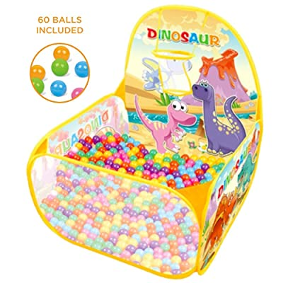Ball Pit Basketball Hoop Play Tent for Kids and Toddlers, Dinosaurs Theme Playhouse - 60 Balls Included – Perfect for Indoor and Outdoor, Gift for Kids, Easy Toy Storage + Carrying Handle: Toys & Games