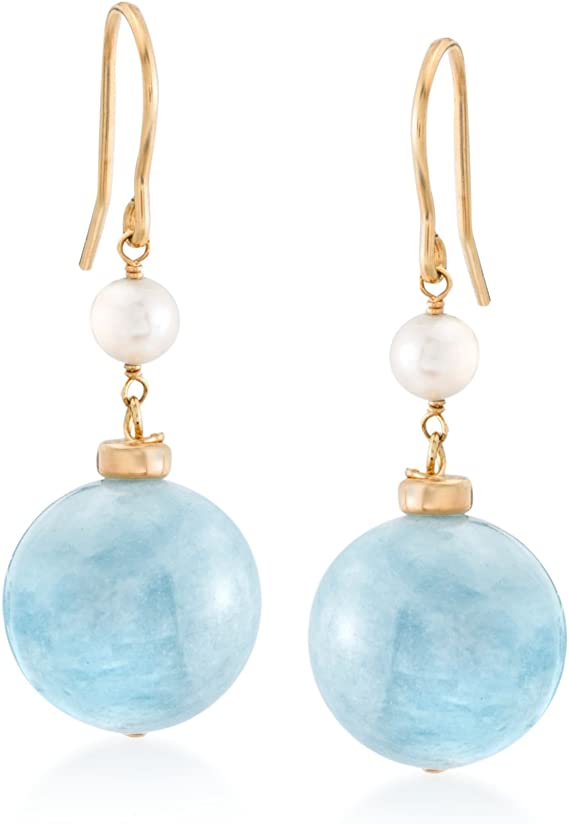 Ross-Simons 35.00 ct. t.w. Milky Aquamarine and 4-5mm Cultured Pearl Drop Earrings in 18kt Gold Over Sterling