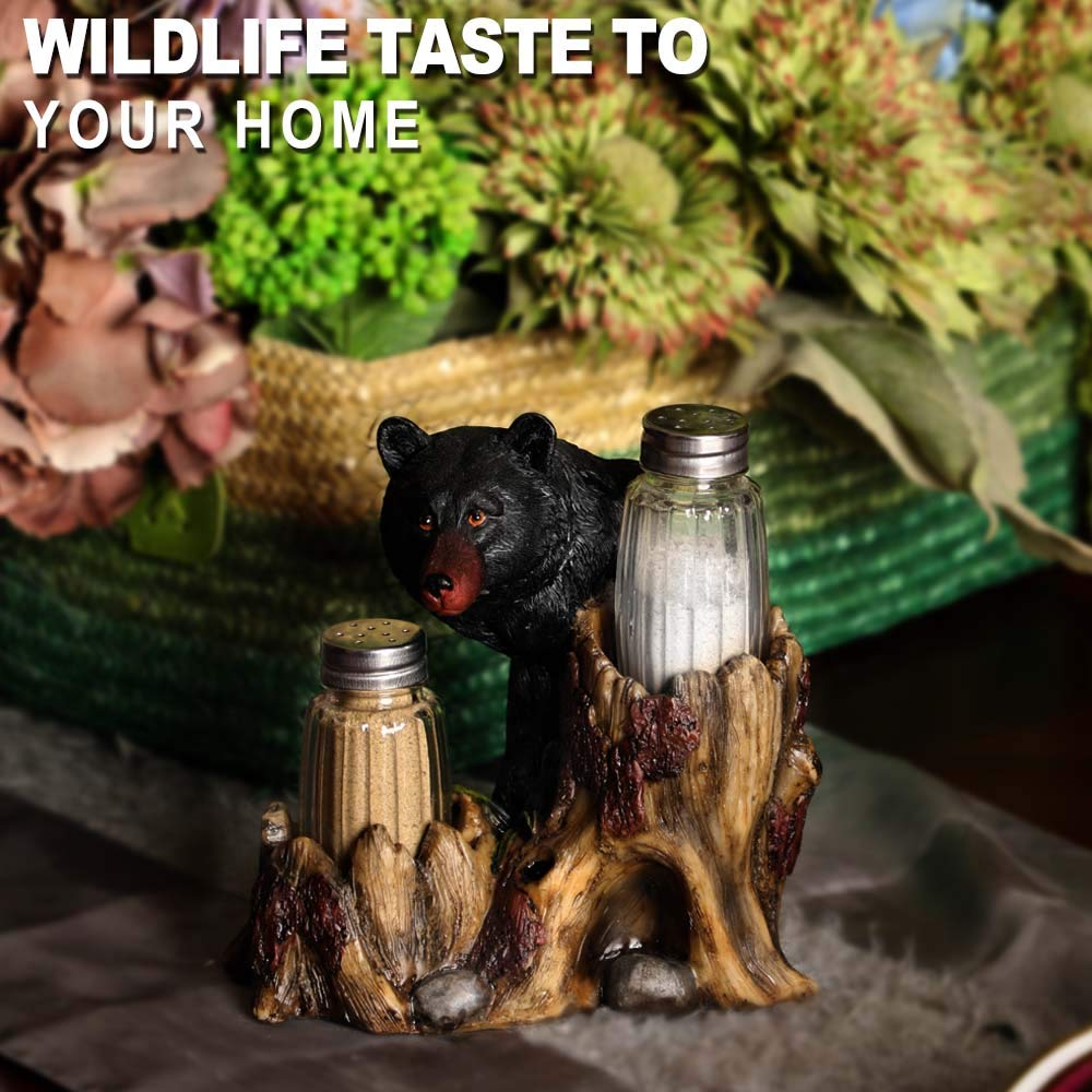 ARAIDECOR Curious Black Bear Salt and Pepper Holder Sculpture Home Decor or Resturant Setting Statue - 6 x 6 Inches