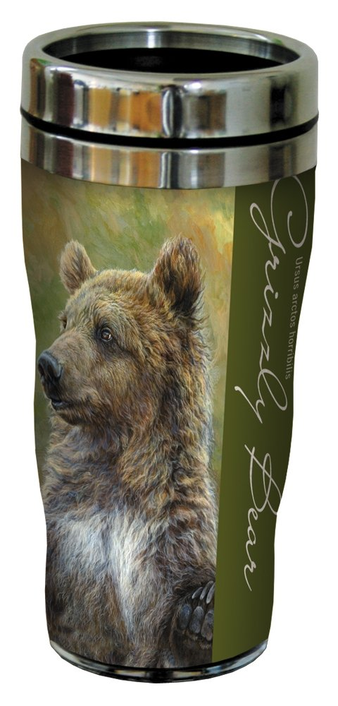 Tree-Free Greetings 25919 Laura Mark-Finberg Grizzly Bear Sip 'N Go Stainless Lined Travel Mug, 16-Ounce