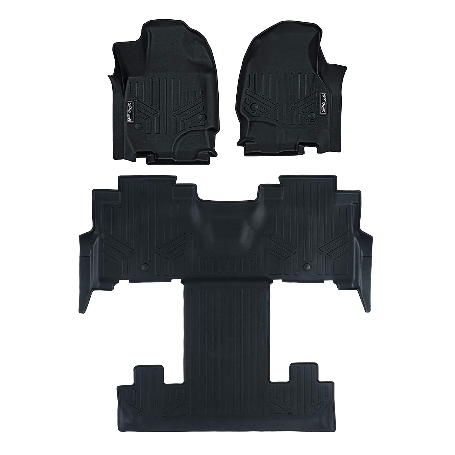 MAX LINER A0350//B0350 Floor Mats 3 Liner Set Black for 2018-2019 Expedition//Navigator with 2nd Row Bucket Seats Incl. Max and L