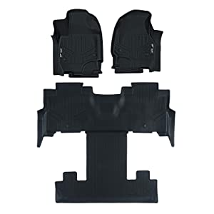 MAXLINER Floor Mats 3 Row Liner Set Black for 2018-2019 Ford Expedition/Expedition Max with 2nd Row Bucket Seats