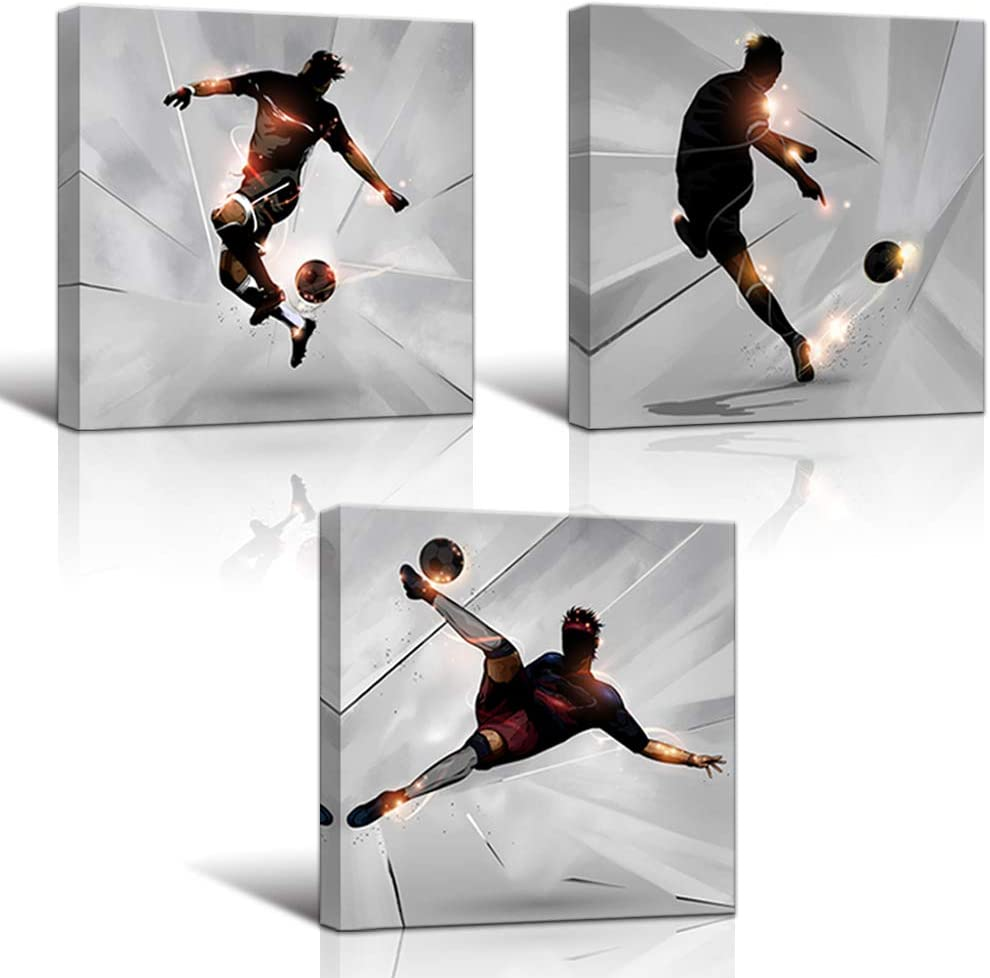 KLVOS Soccer Wall Art Prints Boy Room Sports Theme Decor Stretched and Gallery Wrap Modern Home Decoration for Man Cave Bedroom Ready to Hang - 12x12inchx3 Panel