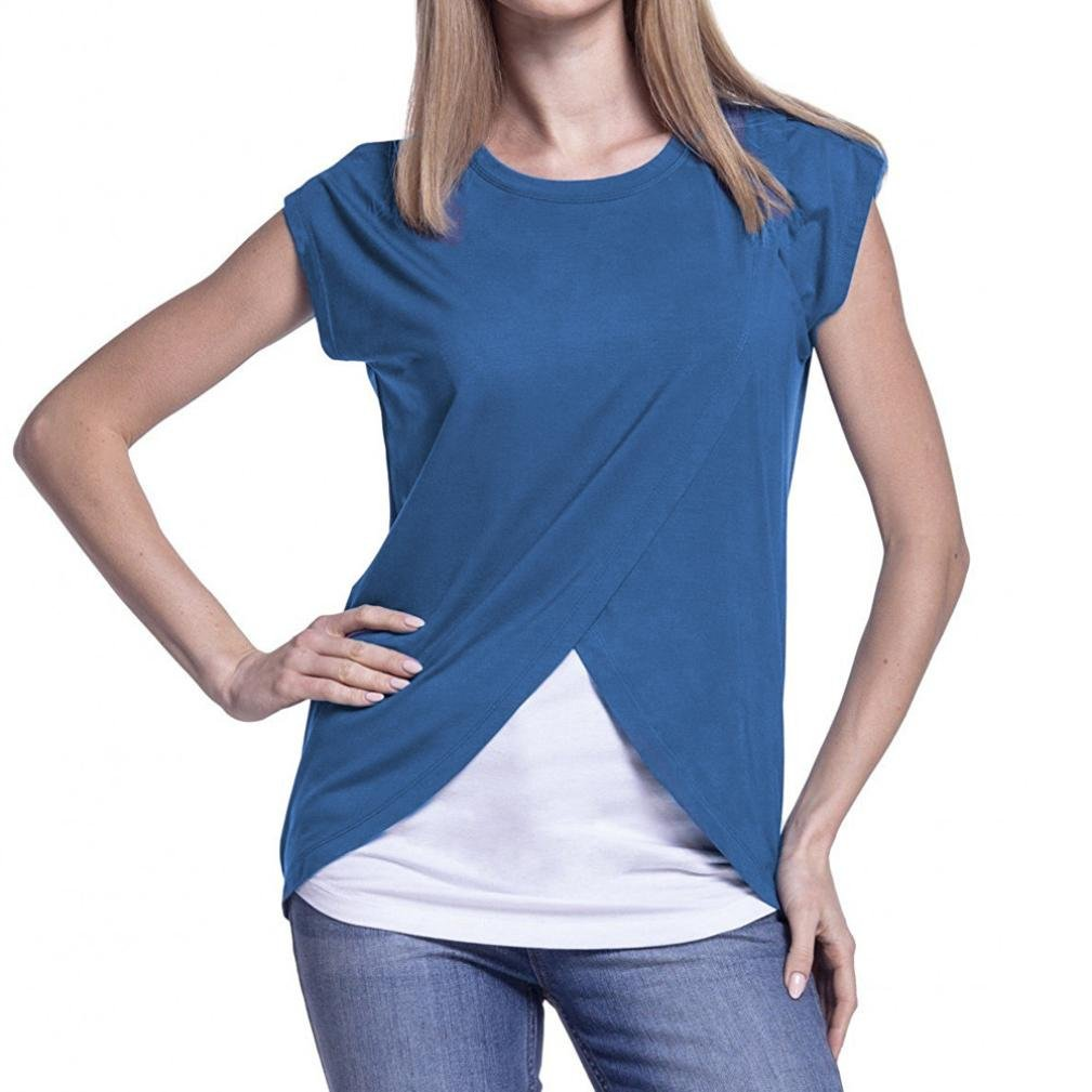 QinMM Camiseta de Mujer Maternidad de Doble Capa, premamá Lactancia Blusa de Manga Corta: Amazon.es: Ropa y accesorios