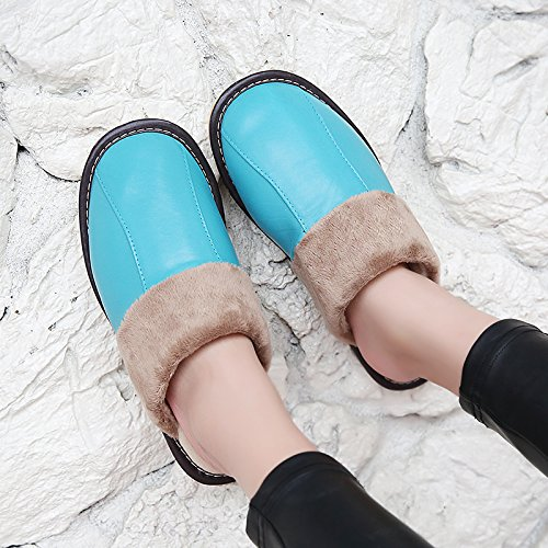 Salon Fankou Automne Hiver Pantoufles De Coton Intérieur Hommes Et Femmes Couples Maison Planchers De Bois Chaud Et Pantoufles D'hiver Crochet, 41-42, Bleu