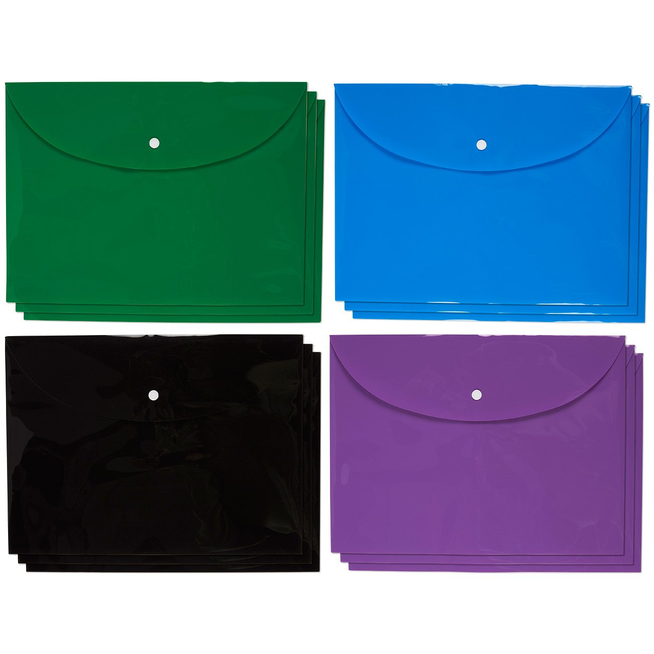 Plastic Envelopes - Pack of 12 - Document Folders with Snap Button Closures - Poly File Folders - Holds up to 85 Sheets A4 or Letter-Sized Papers, Assorted Colors