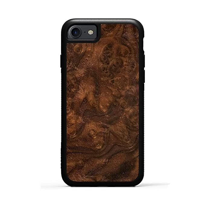 pretty nice 72619 7dbeb Carved iPhone 7 Walnut Burl Wood Traveler Case, Unique Real Wooden Phone  Cover (Rubber Bumper, Fits Apple iPhone 7)