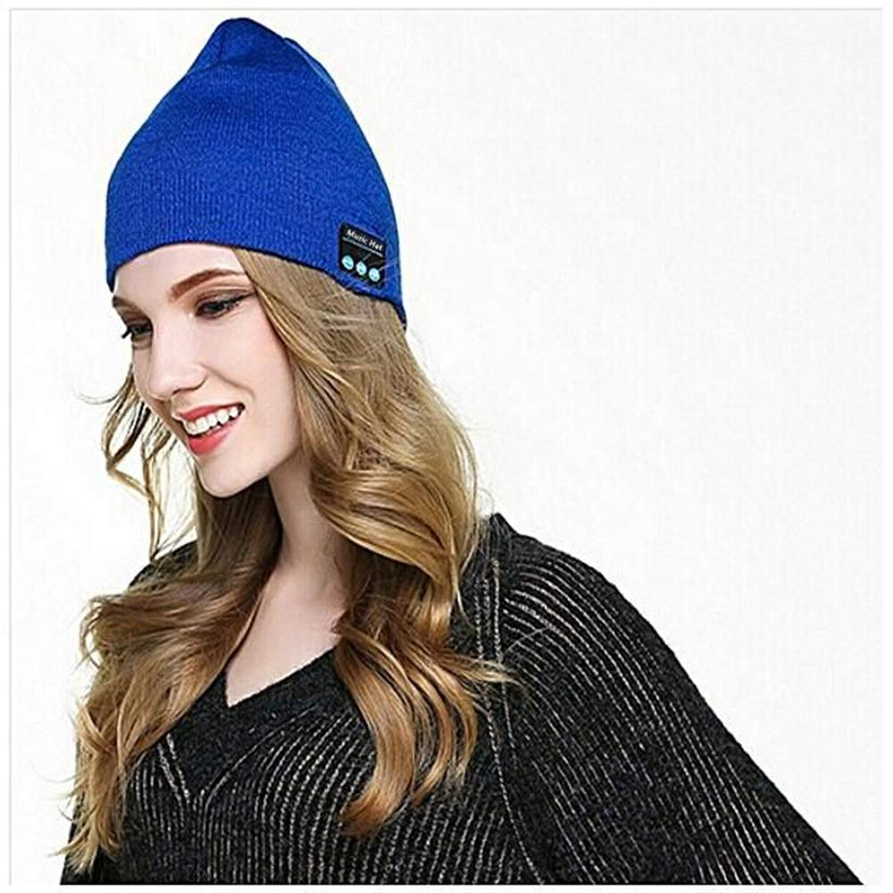 Pardecor Wireless Hat Beanie, Knit Music Cap with V5.0 Headphones Headset, Unique Christmas Tech Gifts for Women Mens (Blue) by Pardecor