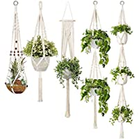 Macrame Plant Hangers, 5-Pack Handmade Cotton Rope Hanging Planters Set Flower Pots Holder Stand,Different Tiers, for…