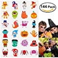144 Assorted Halloween Temporary Tattoo for Kids, 24 Cute Designs Stick on Children Tattoos