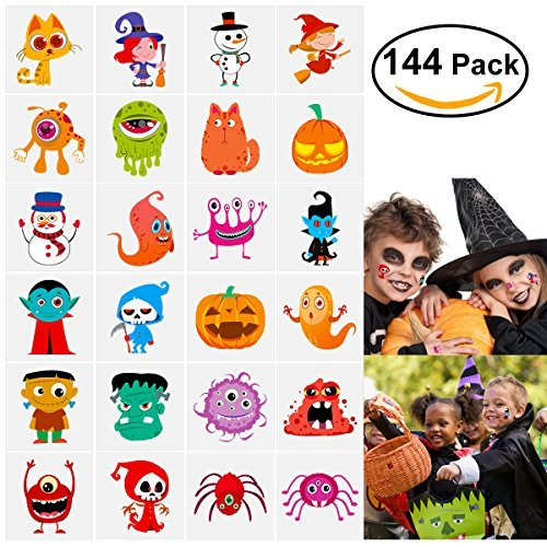 144 Assorted Halloween Temporary Tattoo for Kids, 24 Cute Designs Stick on Children (Easy Halloween Cat Makeup)