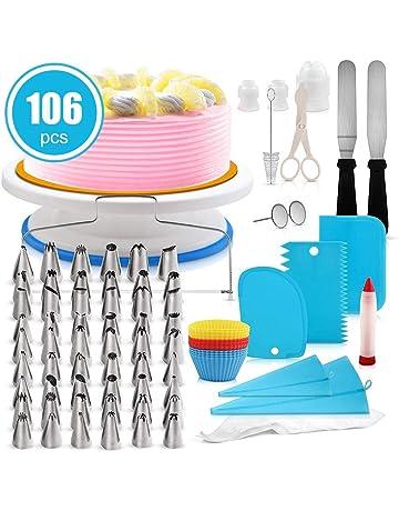 106 piezas Herramientas de decoración de pasteles, Juego de platos con torta giratoria, Suministros