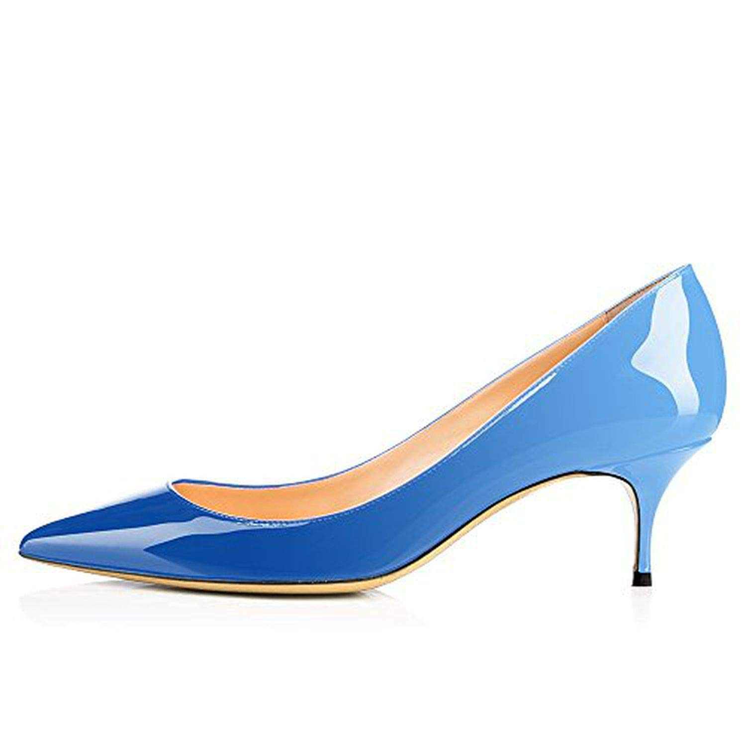 Sky bluee Youthern Woman Heels Big Size Pumps shoes Sexy Pointed Toe High Heels Wedding Bridal shoes