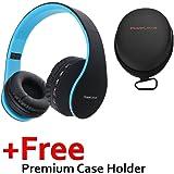 PowerLocus P1 – Auriculares Bluetooth inalambricos de Diadema Cascos Plegables, Casco Bluetooth con Sonido Estéreo con Conexión a Bluetooth Inalámbrico y Cable para Movil, PC, Tablet - Negro/Azul