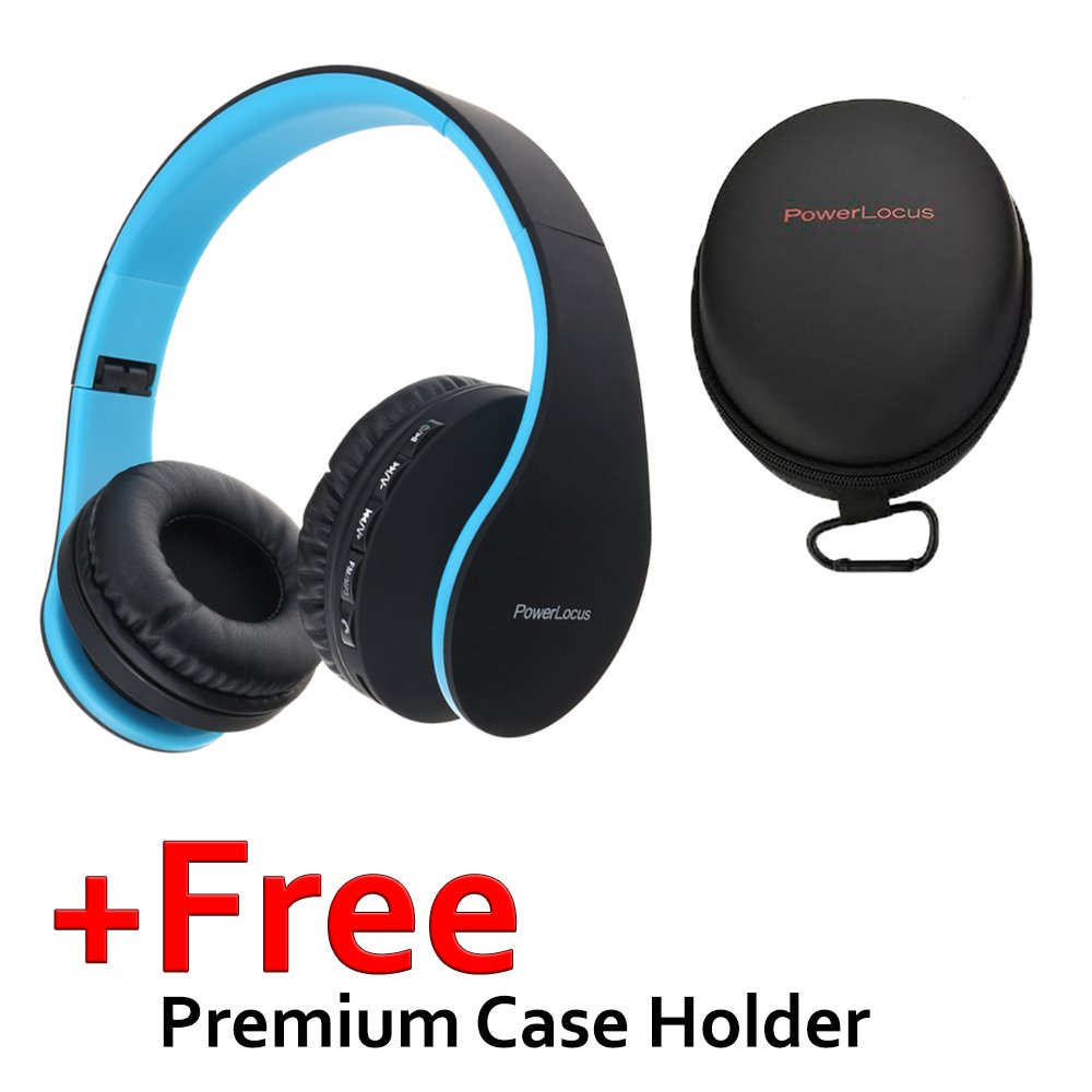 Wired Headsets Noise Cancelling with Built-in Microphone for iPhone Blue iPad Samsung PowerLocus Wireless Bluetooth Over-Ear Stereo Foldable Headphones LG