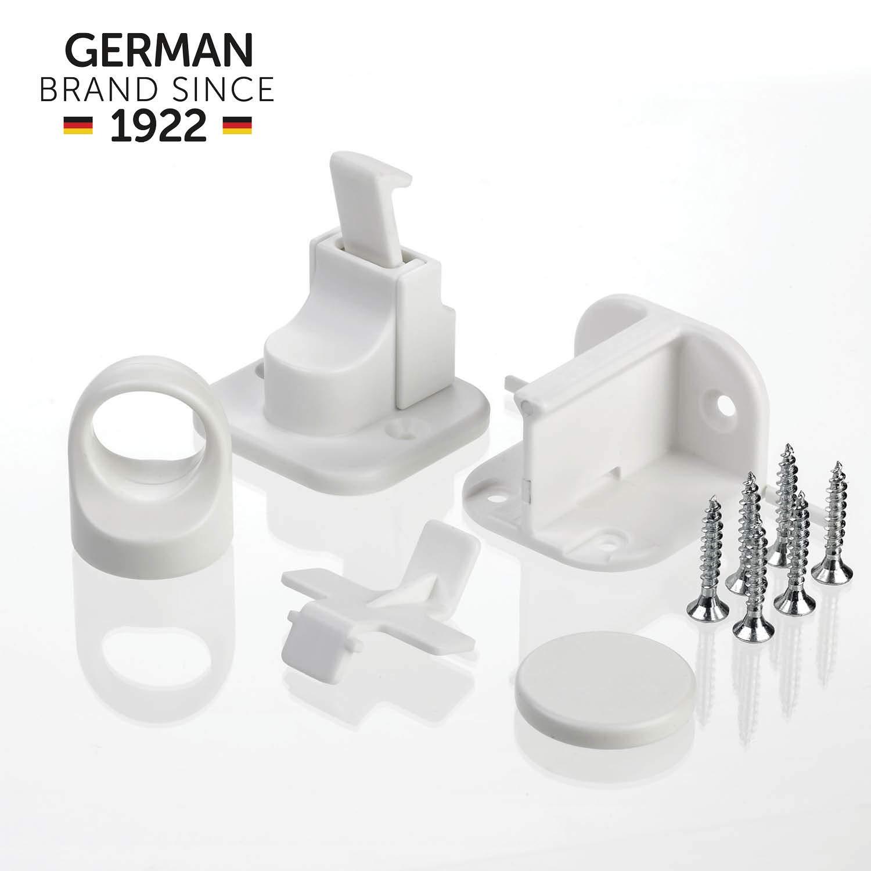wei/ß Schrank-Sicherung und Schubladen-Sicherung 2 St/ück vom schw/äbischen Kindersicherheitsexperten reer Magnetschloss