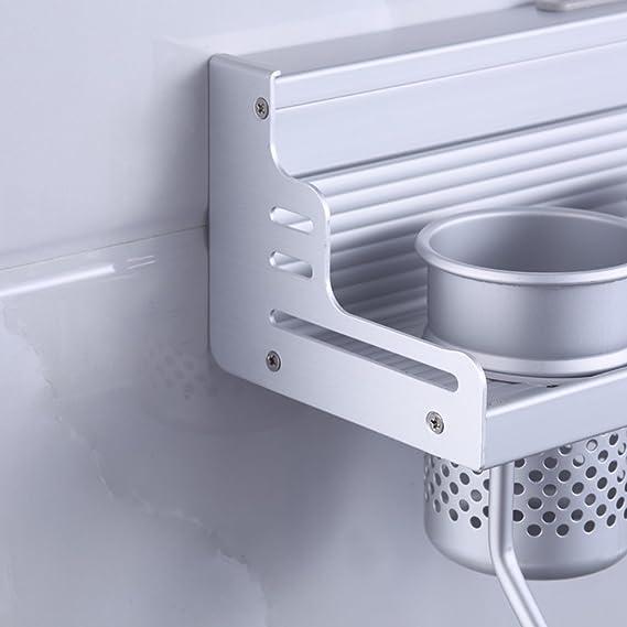 Amazon.com: MyLifeUNIT Aluminum Kitchen Wall Shelf, Wall Mount Kitchen Utensil Hanging Rack Organizer with 2 Cups: Kitchen & Dining