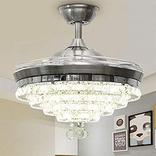 Ceiling Fan Crystal Chandelier, 42 Inches Luxury Chandelier Ceiling Fan with Light, Remote Control 3 Lights Level Ceiling Chandelier Fans for Dining, Living Room, Bedroom