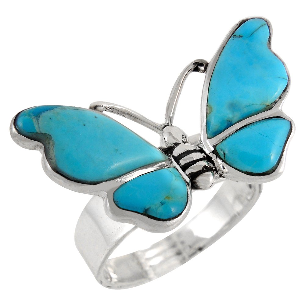 Butterfly Sterling Silver Genuine Turquoise Ring for Women (7) by Turquoise Network