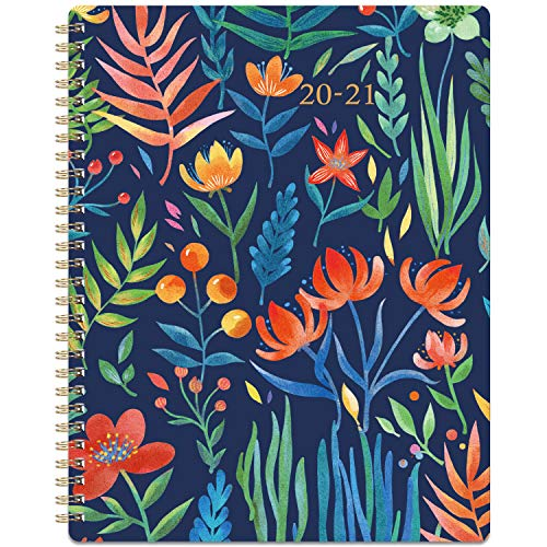 """2020-2021 Planner - Academic Weekly & Monthly Planner with Marked Tabs, 8"""" x 10"""", July 2020 - June 2021, Hardcover with Back Pocket + Thick Paper + Banded, Twin-Wire Binding - Navy Floral"""