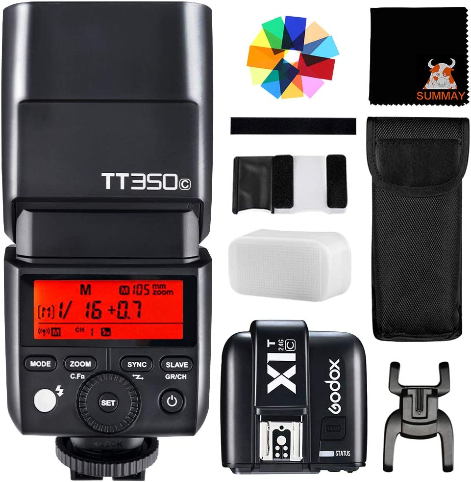 SUTT350C+X1TC GODOX TT350C TTL Mini Flash with X1T-C Trigger GN36 Camera Speedlite for Canon 5D Mark III 80D 7D 760D 60D 600D 30D 100D 1100D Digital X etc