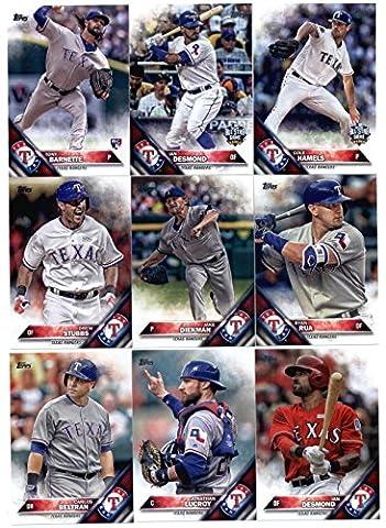 2016 Topps Update Texas Rangers Team Set of 14 Cards: Ian Desmond(#US23), Cole Hamels(#US38), Brett Nicholas/Dae-Ho Lee(#US57), Jake Diekman(#US116), Ryan Rua(#US130), Tony Barnette(#US135), Drew Stubbs(#US143), Nomar Mazara(#US158), Jonathan Lucroy(#US189), Carlos Beltran(#US195), Matt Bush(#US235), Ian Desmond(#US237), Sam Dyson(#US248), Nomar (Jake Diekman)