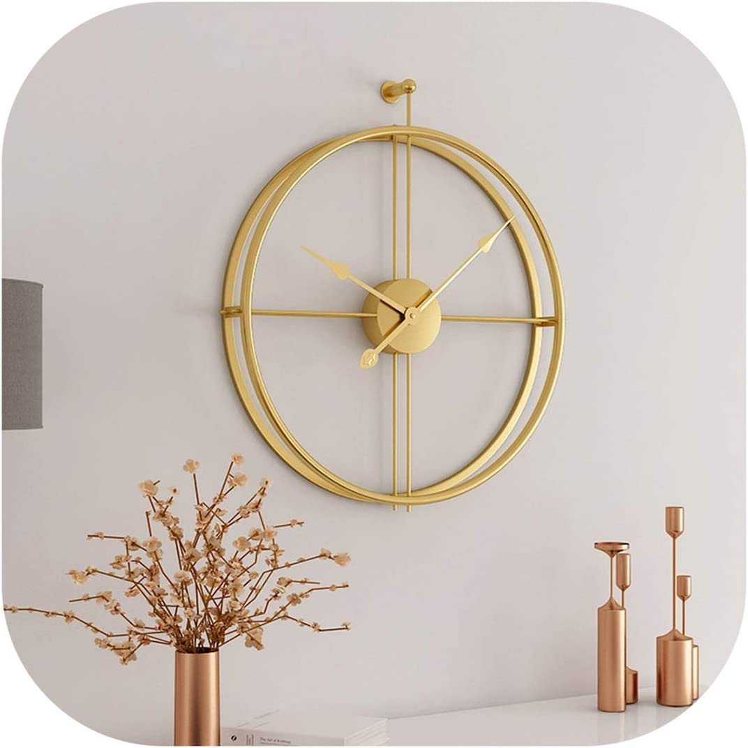 Metal Wall Clock Large Clocks For Living Room Minimalism Style Art Iron Wall Watches Home Decor Gold Home Kitchen