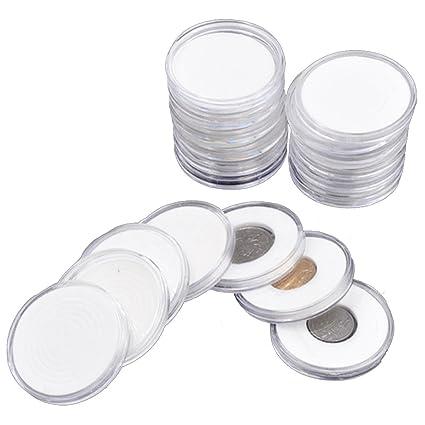 5 Sizes Pad 10PCS 17-46mm Plastic Coin Holder Capsule Storage Case Display Box