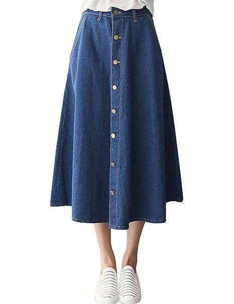 f503a09b168dcf Tanming Women's Button Down Cotton Denim Skirt US XXL (X-Small, Blue)