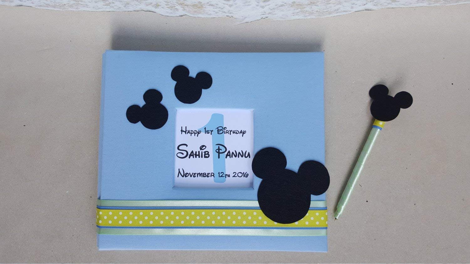 Choice of Colors and Customized with your information Mickey Mouse Guest Book Set