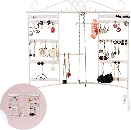 Comcreate Jewelry Organizer Earring Holder Necklace Display Large Capacity With Removable Foot Bracelets Hanger Wall Stand Rack White Amazon Ca Home Kitchen