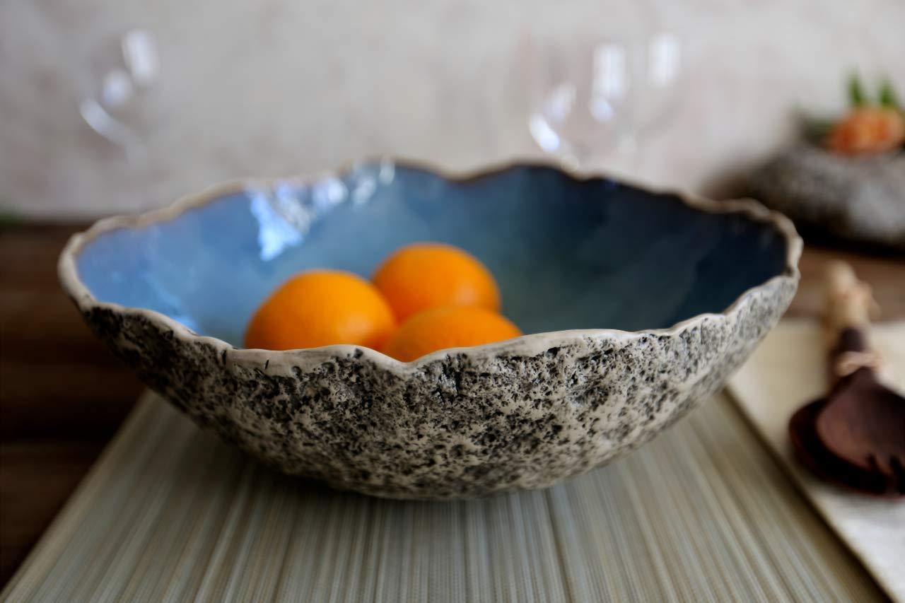 Large Blue Salad Bowl | Handmade Serving Bowl | Ceramic Salad Bowl | Wedding Gift | Centerpiece | Decorative bowl | Fruit bowl | Glazed Bowl