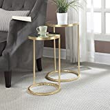 Convenience Concepts Coast Collection Round Nesting Mirror End Tables, Antique Gold