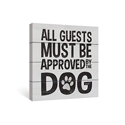 SUMGAR Front Door Decor Black And Grey Dog Sayings Canvas Wall Art Quotes Ready To Hang