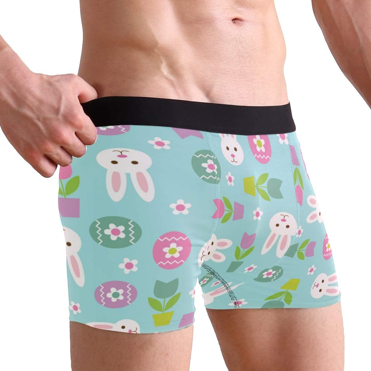 SUABO Men Boxer Briefs Polyester Underwear Men 2 Pack Boxer Briefs with Easter Bunny Pattern