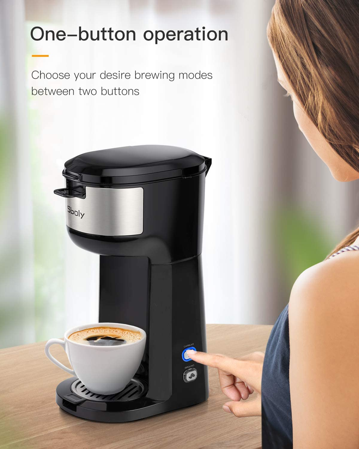 Sboly Single Serve Coffee Maker Brewer for K-Cup Pod & Ground Coffee Thermal Drip Instant Coffee Machine with Self Cleaning Function, Brew Strength Control