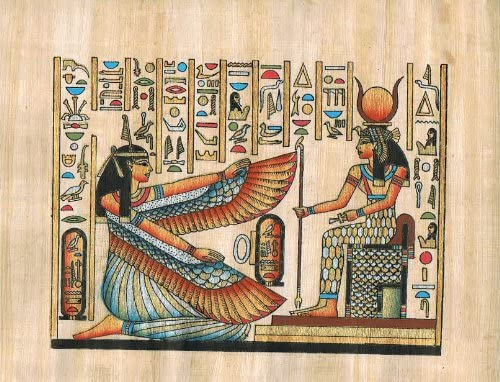 Hand Painted in Egypt Natural Papyrus Painting, Goddess Isis Goddess of Love,motherhood, Magic and Fertility with Her Wings Open to Goddess Hathore Who Was a Goddess of Music, Dance, Foreign Lands and Fertility Who Helped Women in Childbirth. Size 7.8 x11.8