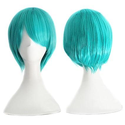 Hrph Pelucas de pelo de las mujeres peluca de la manera recta corta con flequillo cielo