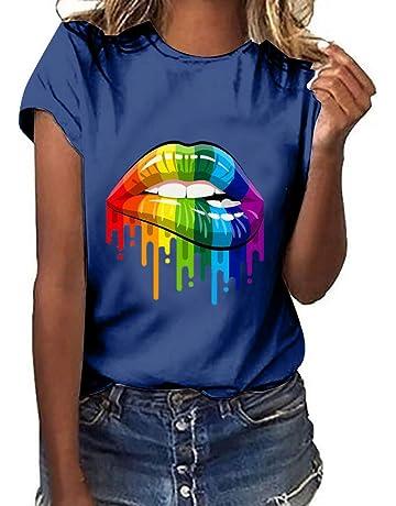 5fa9fe600d Dressin Plus Size Women Lips Print Short Sleeve T-Shirt Tops Girls Ladies  Summer Lose